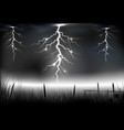 Lightning storm with on a dark background vector image