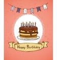 birthday invitation with chocolate cake vector image vector image