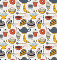 Seamless cafe pattern vector image