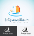 Yacht Palm trees and sun travel company logo vector image