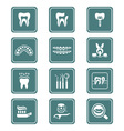 Dental icons - TEAL series vector image