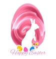 Bunny with colorful egg in easter card vector image