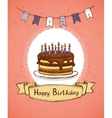 birthday invitation with chocolate cake vector image