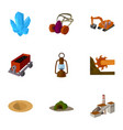set of icons about the mine the extraction of vector image