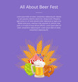 All about fest poster with food set german bakery vector image