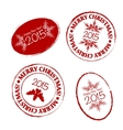 Merry Christmas grunge post stamp vector image vector image