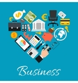 Business icons combined in heart shape vector image