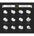 Fruits silhouette icons set Chalk vector image