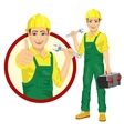 handsome worker holding adjustable wrench vector image