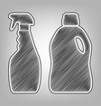household chemical bottles sign pencil vector image