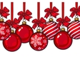Red Christmas balls with ribbon and bows vector image