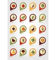 Vegetable mapping pins icons with long shadow vector image