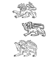 Vintage healdic lions set vector image