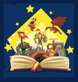 Open book with legend fairy tail fantasy book vector image