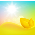 Autumn background with yellow leaf and the sun vector image vector image