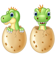 Cute baby dinosaur hatching isolated on wh vector image