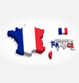 republic of france 3d flag and map vector image