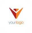 victory letter v logo vector image