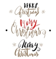 Handwritten Christmas gold and red calligraphy vector image