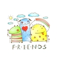 Cute friends monster animals with clouds and vector image