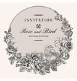 vintage round frame with birds and roses vector image vector image