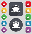 boat icon sign A set of 12 colored buttons and a vector image