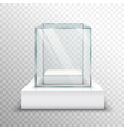 Empty Glass Showcase Transparent vector image
