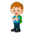 kids boy with backpacks vector image