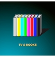 Row of books made tv-colorful no signal background vector image