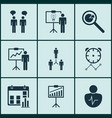 set of 9 board icons includes group organization vector image