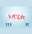 businessman and his team writing vision word vector image