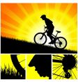 biker riding up to hill vector image vector image