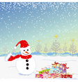 Christmas greeting snowman vector image vector image