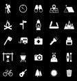 Trekking icons on black background vector image