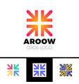 four arrows logo form cross or plus graphic vector image