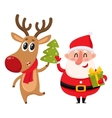 Funny Santa Claus and reindeer in red scarf vector image
