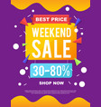 Sale banner on colorful background vector image