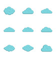 tropical cloud icon set flat style vector image