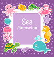 violet border with cute sea animals sea frame vector image