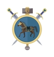 Brown Horse in Gold Circle Isolated Avatar Icon vector image