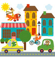 transport with animals in city vector image vector image