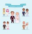 flat wedding couples romantic set vector image