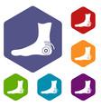 foot heel icons set hexagon vector image