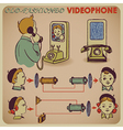 communication by retro phone vector image