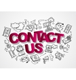 Contact us sketch icons composition vector image