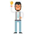 Hipster male holding a lightbulb vector image