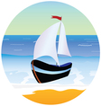 boat and beach cartoon vector image