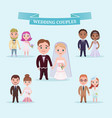 flat wedding couples romantic set vector image