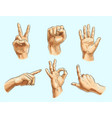 male hand gesture icon set vector image