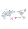 Social network map background infographics vector image